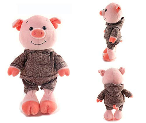 AZUO Schweinchen Plüsch Tier Kissen Interessant Bedside Schlafzimmer Dekoration Spielzeug Baby Mädchen Umarmung Kissen Freundin Geburtstag Geschenk Jahr des Schweins Maskottchen,Khaki,30cm