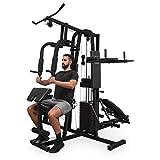 Klarfit Ultimate Gym 9000 • Kraftstation • Fitnessstation • Trainingsstation • 7 multifunktionale Stationen • Beinpresse • Latzug • Curlstation • bis 150 kg • Stahl • inkl. 100 kg Gewichte • schwarz