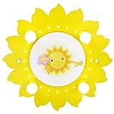Elobra Kinder Lampe Sonne mit Blume Deckenleuchte Kinderzimmer Holz mit Nachtlicht LED, gelb 126721