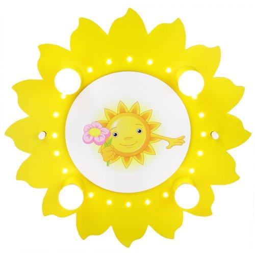 Elobra Kinder Lampe Sonne mit Blume Deckenleuchte Kinderzimmer Holz mit Nachtlicht LED, gelb 126721 (Blume Baby Lampe)