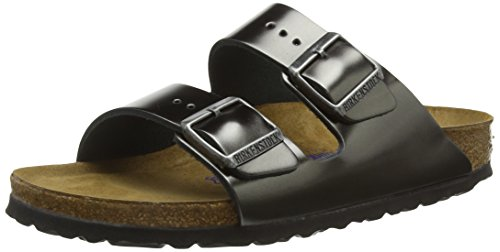 Leder-pantolette Metallic (BIRKENSTOCK Classic Damen Arizona Leder Softfootbed Pantoletten, Grau (Metallic Anthracite), 40 EU)