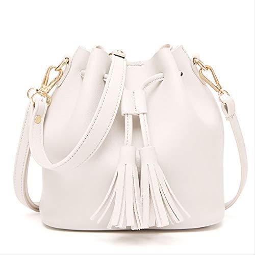 Umhängetasche Vintage Mode Kleine Frauen Leder Eimer Tasche Handtasche Quaste Kordelzug Umhängetasche Messenger Weiß - Wanne-geschenk-korb