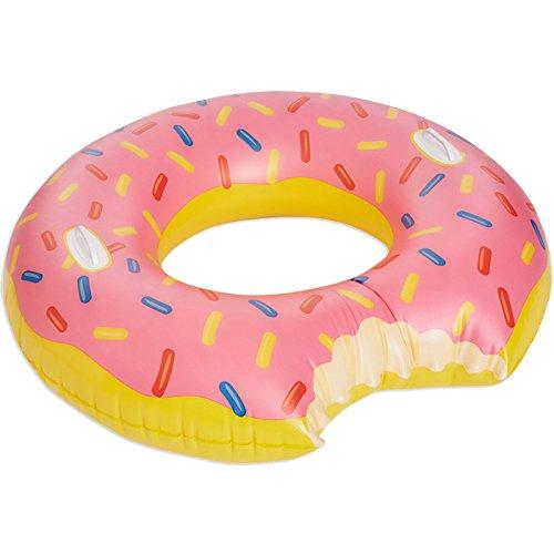 Happy People 77631 Donut Schwimmring Pink mit Bunten Streuseln und Haltegriffen, XX-Groß