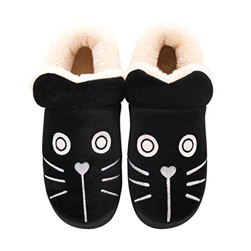 Cotone B Disegno Femmina Dww Di Invernale Calde Nero Fumetto Carino Scarpe Pantofole Pantofole Antiscivolo q8qtaOS