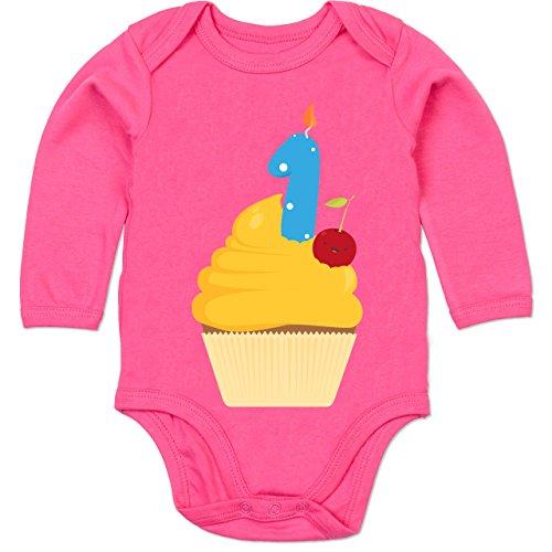 Shirtracer Geburtstag Baby - 1. Geburtstag Cupcake Erster - 6-12 Monate - Fuchsia - BZ30 - Baby Body Langarm Fuchsia Cupcake