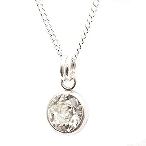 Sterling Silver pendant and chain handmade with sparkling channel Diamond White crystal from SWAROVSKI®.