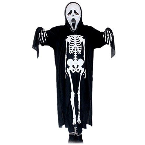 Halloween Karneval Kinder Erwachsene Skelett Anzug Kostüm mit Maske und Handschuh (Kinder 90 (Erwachsenen Skelett Anzug)