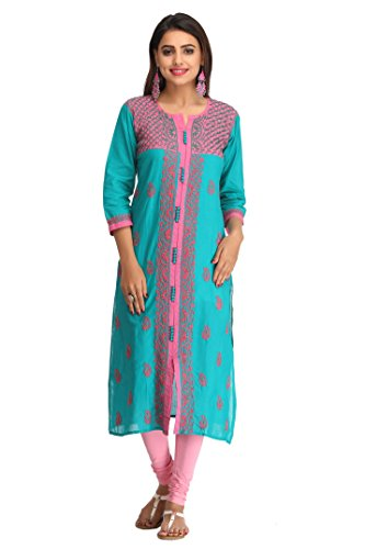 ADA Women's Cotton Lucknow Chikan Handcrafted Straight Kurta (XS232405_Green_X-Small)