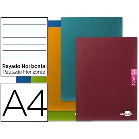 Liderpapel - Libreta scriptus a4 48 hojas 90g/m2 horizontal con margen (5 unidades)