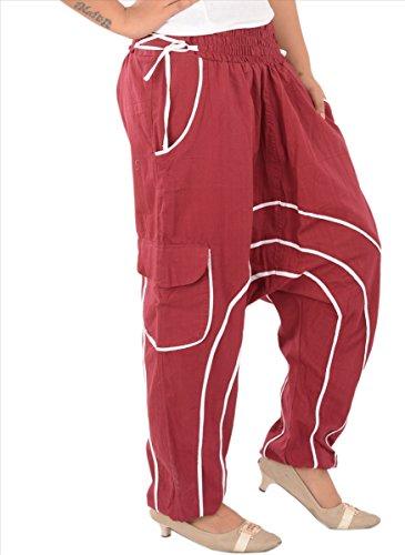 Gonne e sciarpe donna cotone Afghani Pantaloni harem Yoga//Pajama (Viola) Red