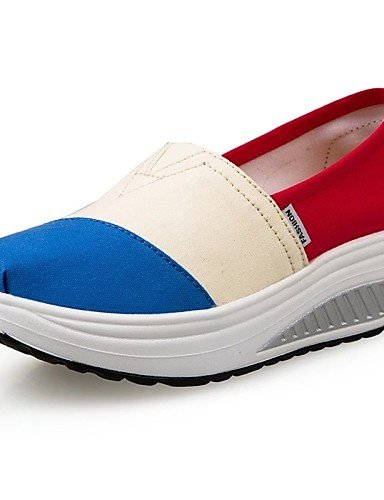 ZQ Scarpe Donna Di corda Zeppa Plateau/Scarpette da culla Mocassini Tempo libero/Ufficio e lavoro/Casual Blu/Rosso , red-us6.5-7 / eu37 / uk4.5-5 / cn37 , red-us6.5-7 / eu37 / uk4.5-5 / cn37 blue-us7.5 / eu38 / uk5.5 / cn38