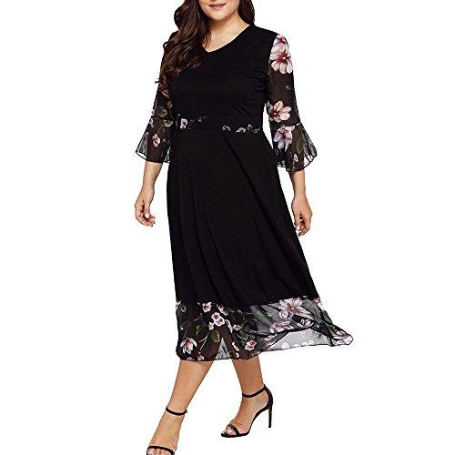 Womens Wrap (WWricotta Women Midi Dresses V Neck Wrap Chiffon Floral Long Sleeve Plus Size Prom Dress(Schwarz,XL))