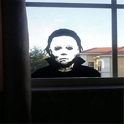 Halloween-Abziehbilder, Michael Myers Desgin, Urlaub Horror Aufkleber, lustige Tür Fensterspiegel Dekor, kann für Heim und Kunst Dekoration, 22,4 * 20