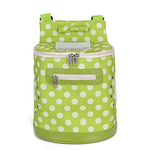 Uzanesx Hundebeutel-Haustier-Tasche heraus Tragetasche Rucksack-Polka-Punkt-Haustier-Tasche zurück Hundebeutel-Kasten-Rucksack (Color : Green, Size : 28X18X26)