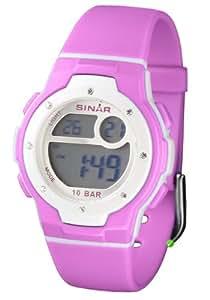 Sinar Armbanduhr - Jugenduhr digital - pink mit Kristallen