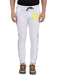 American-Elm Men's White Slim Fit Printed Trackpant