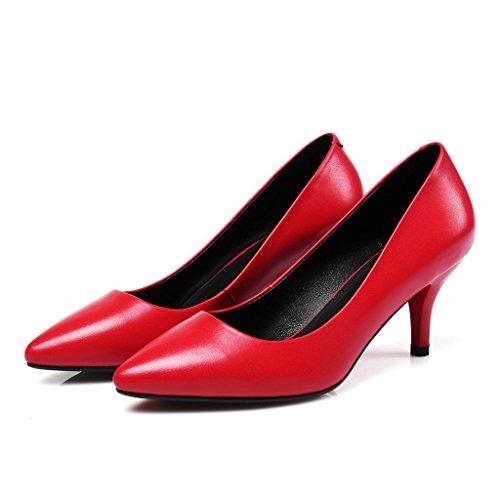 W&LMScarpe appuntito Fine con Tacchi alti Bocca poco profonda Scarpe basse Dentro e fuori vera pelle Scarpe singole Sandali da donna red 5cm