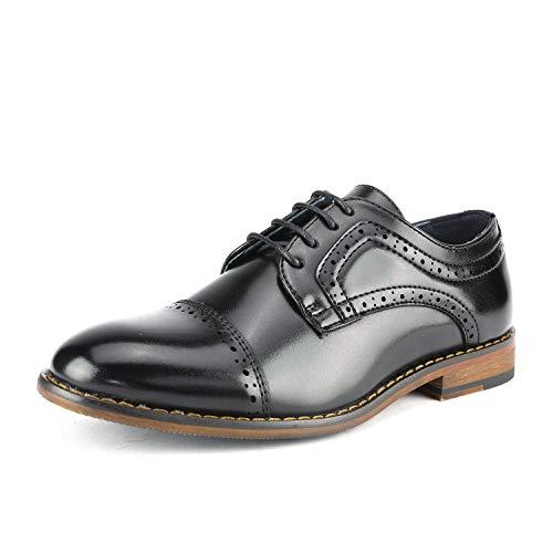 Bruno Marc Prince_K_1 Zapatos de Cordones Vestir Oxfords Clásicos para Niño Negro 34 EU/3 US Little...