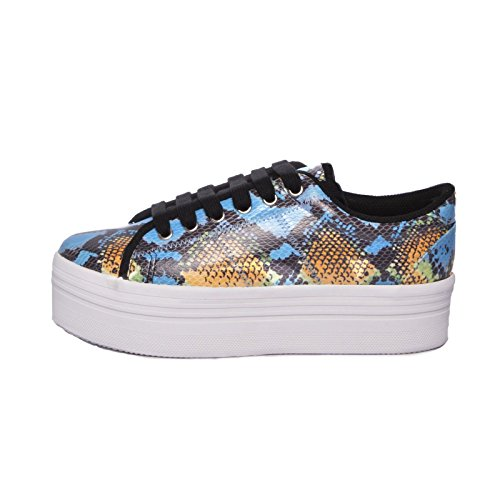 JEFFREY CAMPBELL EPLAY Sneaker ZOMG Blu-Giallo Multicolor