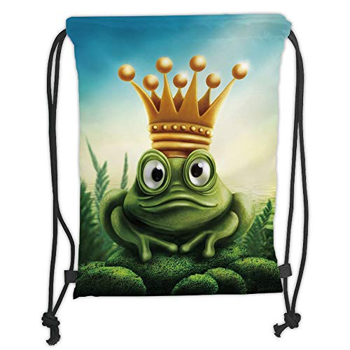 Drawstring Backpacks Bags,King,Frog Prince on Moss Stone with Crown Fairytale Inspired Cartoon Image,Forest Green and Yellow Soft Satin,5 Liter Capacity,Adjustable String Closure,T