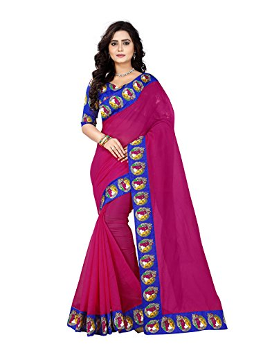e-VASTRAM Chanderi With Kalamkari Unstitched Saree With Blouse Piece(Buddhap_Pink,Blue Free Size)