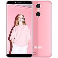 OUKITEL C8 Smartphone Barato 3G Android 7.0 5.5''HD Telefonos Moviles Libres 3000mAh QuadCore 5.0MP+13.0MP Cámara 2GB RAM+16GB ROM Huella Digital Pantalla Completa GPS Dual Sim-Rosa