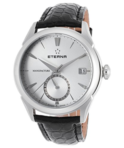 Eterna Men's Soleure 43mm Black Genuine Alligator Band Steel Case Automatic Analog Watch 7680-41-11-1175