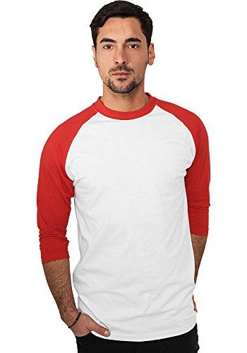 Urban Classics Herren Shirt 3/4-Arm Contrast – verschiedene Farben White/Red
