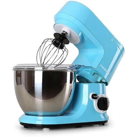 Klarstein Carina Azzura robot de cocina (bol de acero inoxidable de 4 l, 3 accesorios para batir y amasar) -
