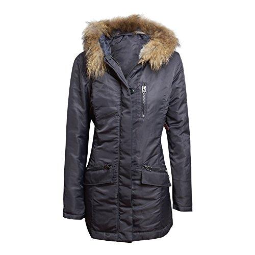 Nuovo modello IQ + berlin Cappotto Parka 4107-1106-98con pelliccia cappuccio, Antracita, 44