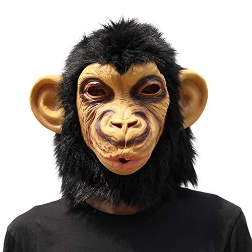 WLWWY Maske Deluxe Neuheit Kopf Latex Spielzeug Schimpanse Kopfmaske Für Halloween-Kostüm