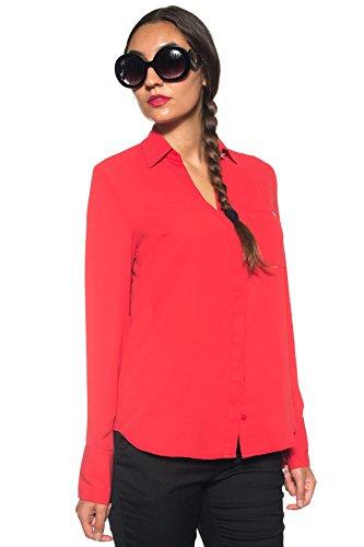 GUESS - Damen langarm slim fit hemd sasha shirt w73h63w8rr0 xs rot (Guess Jeans Baby)
