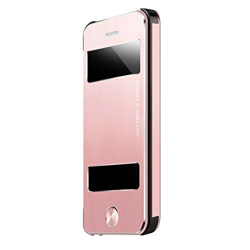 Oats Premium Case kompatibel mit iPhone 5, 5s Schutzhülle Aluminium Sichtfenster Hard Cover Flip Back Case Bumper - in Rosé Gold