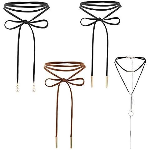 JewelryWe Joyería Gargantilla Negra Terciopelo, Collares para Mujer Jóven, Choker Romántico Largo Collar Negro Nodo