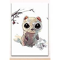 Colorear por números Animal pintura al óleo digital por número Ojos grandes y lindos Pintar batas