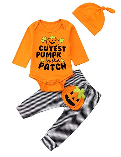Ttkgyoe Mein 1. Halloween-Kürbis-Kostüm-Baby-Mädchen-Spielanzug-Oberseite + Streifen-Hose + Hut 3pc neugeborenes - Mein Halloween Kostüm