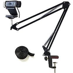 """Support pour appareil photo de bureau avec support pour appareil photo de bureau pour webcam Logitech C922 C930e C930 C920 C615, microphone Shure MV5 et autres périphériques avec filetage 1/4"""""""
