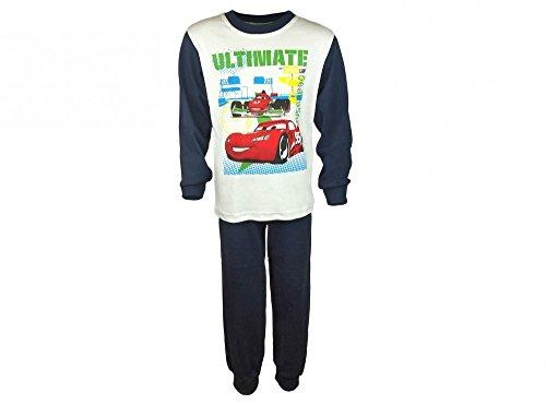 Jungen Pyjama 2-teilig von Cars in GRÖSSE 86, 92, 98, 104, 110, 116, 122, 128 in Weiss und blau, Sweat-Shirt Langarm mit Motiv und Langer Hose, Schlaf-Anzug zum Wohlfühlen Größe 92