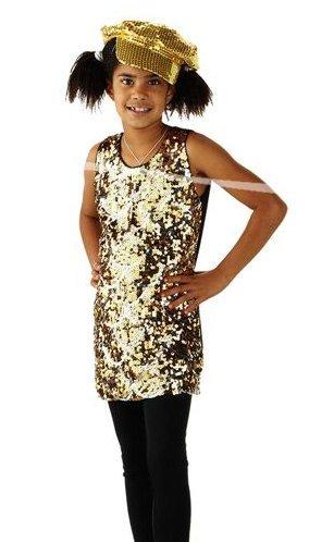 -Kleid, Größe L, gold (Mädchen Disco Kleid)