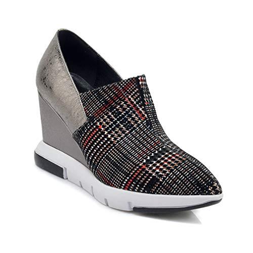 YAN Women es Wedge Shoes Leder Pointed Platform Shoes England Fashion Ladies Shoes Party & Evening Dress Shoes Walking Shoes,B,34