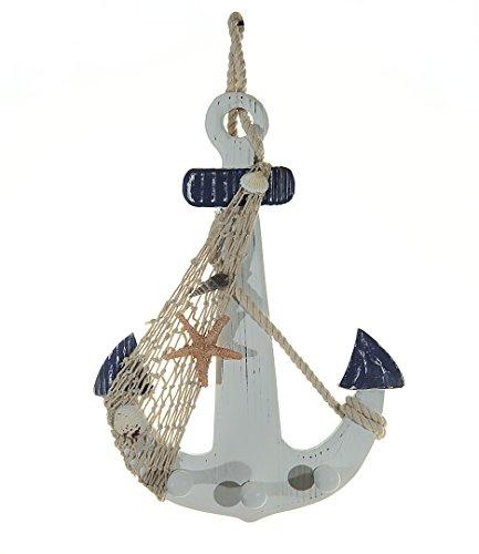 Collection Kleiderhaken Anker blau weiß Garderobe Wandhaken Holz Fischernetz Maritim Deko Stranddeko Meer Haken Aufhänger