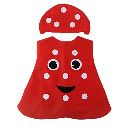 Descripción:      Material: tela no tejida   Precioso disfraz de hongo de una sola pieza, viene con sombrero rojo, cubierto / medio cuerpo cubierto   Especialmente diseñado para niños, adecuado para niños y niñas, apto para la altura entre 35...
