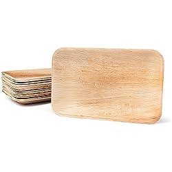 BIOZOYG Haute qualité d'assiette en Feuille de Palmier I 25 pièces d'assiettes Rectangle du Feuille Palmier 25 x 15 cm I Bio jetable Vaisselle pour fête Rapidement décomposable