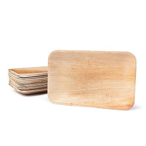 Hochwertiges Palmblattgeschirr von kaufdichgrün I 25 Stück Palmblatt Teller rechteckig 25 x 15 cm I Bio Einweggeschirr biologisch abbaubar Partygeschirr Einmalgeschirr Wegwerfgeschirr (Bambus-blätter 100%)