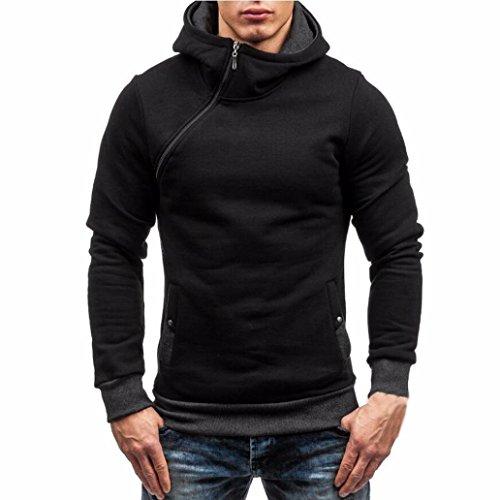 Clearance! BBring Men Hoodies Sport Outwear Warm Zipper Sides Patchwork Long Sleeve Jacket Fashion Hoody Hooded Winter Sweatshirt Pocket Pullover Tops Gentlemen Coat (L, Black)