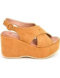 Zapatos Sandalias con cuña tacón Plataforma Alta con Tiras Anchas Cruzadas  de Ante Antelina 4445c76b7366