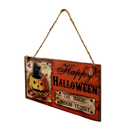LIOOBO Halloween Kürbis Schwarze Katze dekorative hängende Brett Holzschild hängen Tag mit coolen Muster Dekoration Requisiten für Tür Fenster Bar Einkaufszentren Dekorationen