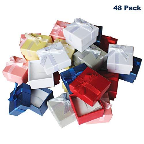 48 teiliges Schmuck Ring Geschenkboxen Set mit Samteinlage von Kurtzy - 3.8 x 2.8 cm Präsentations-Schachteln - Schleife und Band Design - Steckeinlage für Ringe und Ohrstecker