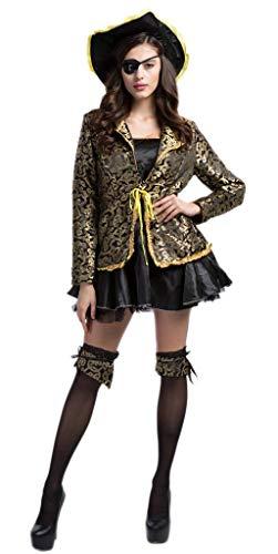 YiyiLai Cosplay Kostüm Halloween Karneval Kostüm Bekleidung für Damen Mädchen Gelb-Schwarz M