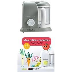 Béaba - 912461 - Babycook Solo - Gris + Mes p'tites recettes Babycook 4-6 mois